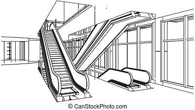 Abstract Construction And Escalator - Abstract Construction...
