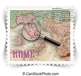 Label for Rome tourist products ads stylized as post stamp -...