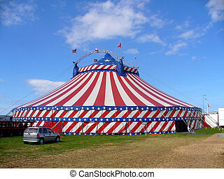 americano, Circo, barraca, exterior