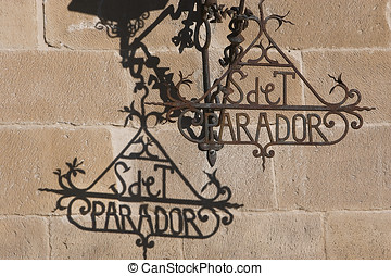 Detail of wrought iron letters, Ubeda, Spain - Detail of...