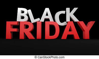 3D Black Friday - 3D label Black Friday on black background