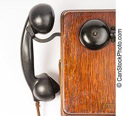 Vintage Obsolete Oak Telephone Set Bakelite Handset Wallbox...