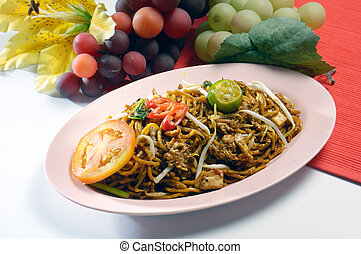 noodles. stir-fried noodles with chicken