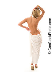 Sexy young woman standing with a bare back. Isolated over...