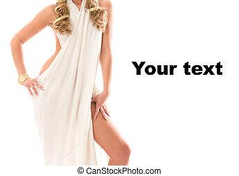 Attractive charming girl dressed like a Greek Goddess