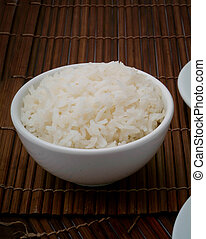 White steamed rice in round bowl - Rice. White steamed rice...