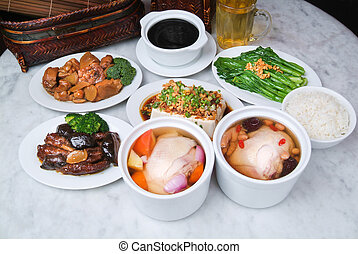 Chinese Dinner set chicken, vegetable, soup and rice on...