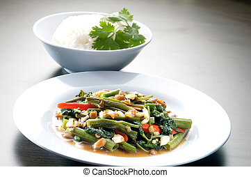 kang kong. Stir Fried Water Spinach with Belacan asia food