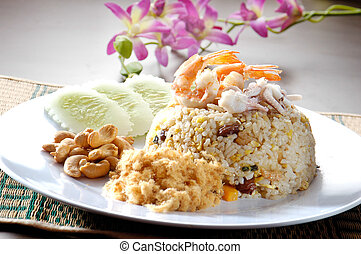 Seafood fried rice. asia food - fried rice. Seafood fried...