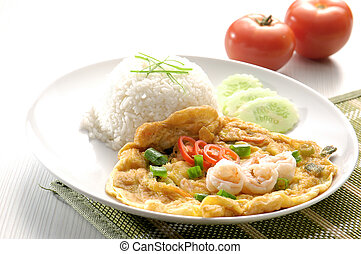 omelet with rice and fish sauce spicy.thai food.