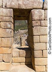 Inca Wall in Machu Picchu, Peru, South America. Example of...