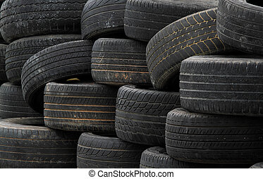 Old rubber tires - Pile of old rubber tires for background