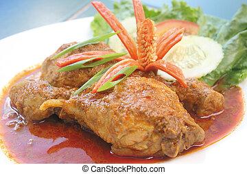 galinha, caril, alimento, galinha, Ásia, alimento
