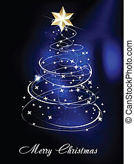Blue Christmas Tree Background vector illustration