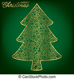 Elegant filigree Christmas card in vector format