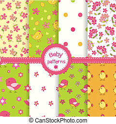 Set of baby seamless patterns - Set of funny baby seamless...