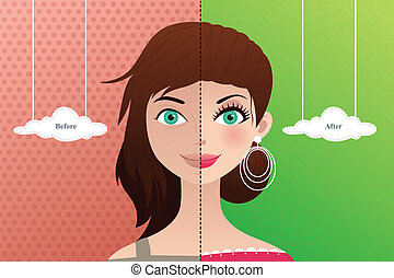 Before and after: makeup - A vector illustration of a...