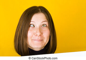 Crazy woman. On yellow background