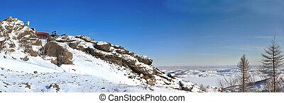 Russian rockies panoramic. Ski resort