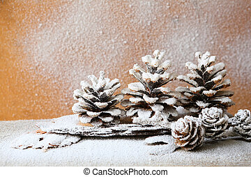 christmas background with pine cones, decorations