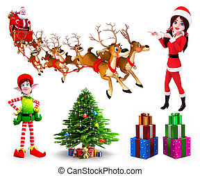 Christmas Collection - 3d rendered illustration of Christmas...