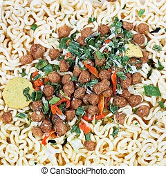 dried beef, vegetables and instant ramen - sublimated beef,...