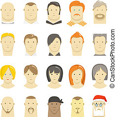 Retro and modern different people faces style isolated on...