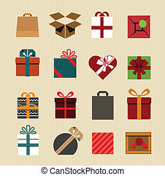 Color gift boxes icons collection. Retro style
