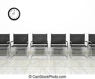 fila, sillas, esperar, habitación