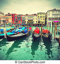 Gondolas on Grand Canal, Venice, Italy, retro style