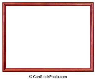 wooden red picture frame with cut out canvas - narrow red...