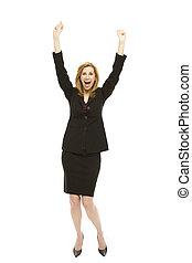 Businesswoman gestures excitement - Businesswoman in a suit...