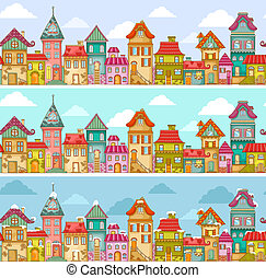 houses pattern - seamless pattern with rows of colorful...