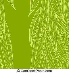Seamless natural pattern with long leaves