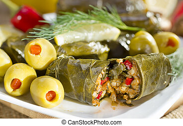 Grape leaves stuffed with rice - Mediterranean meal plate -...