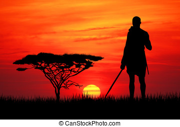 Masai at sunset - Masai in African landscape