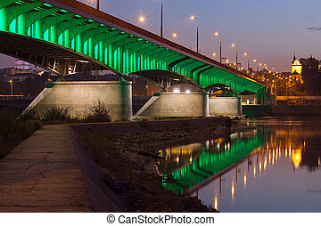 Slasko-Dabrowski Bridge at Dusk in Warsaw - Slasko-Dabrowski...