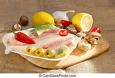 Mediterranean omega-3 diet - Fish fillet, stuffed olives,...