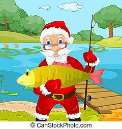 Santa Claus - Cartoon Character Santa Claus. Vector EPS 10.