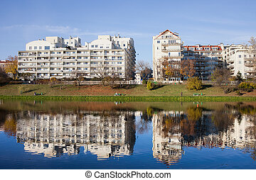 Lakeside Modern Apartment Buildings in Warsaw