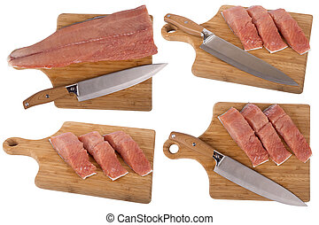 siberian salmon on wooden board - Cut slices of fish...