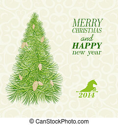 Christmas card with spruce and pinecone.  illustration.