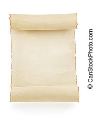 parchment scroll on white - parchment scroll isolated on...