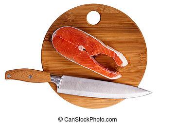 humpback salmon board - Fresh piece of fish humpback salmon...