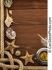 sea concept on wood background