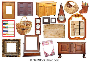collage with antique wood objects