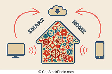 smart home - Smart home in the cloud concept symbol vector...