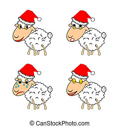 A funny Christmas sheep expressing different emotions....