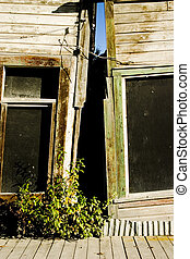 Sagging Buildings - Two old buildings sag together in Dawson...