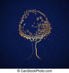 golden tree - Golden tree concept, symbol of nature vector...